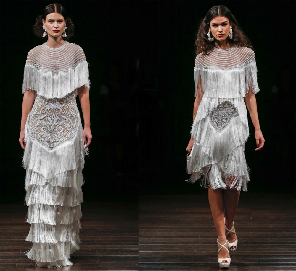 Свадебные платья с бахромой