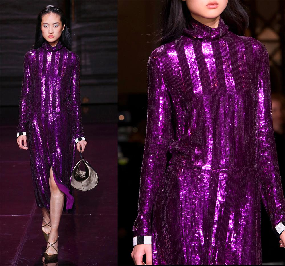 Фиолетовое платье с пайетками