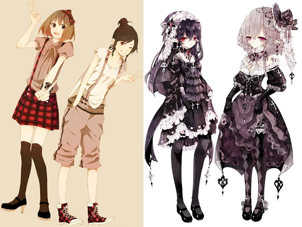 Модная иллюстрация и девушки в стиле аниме