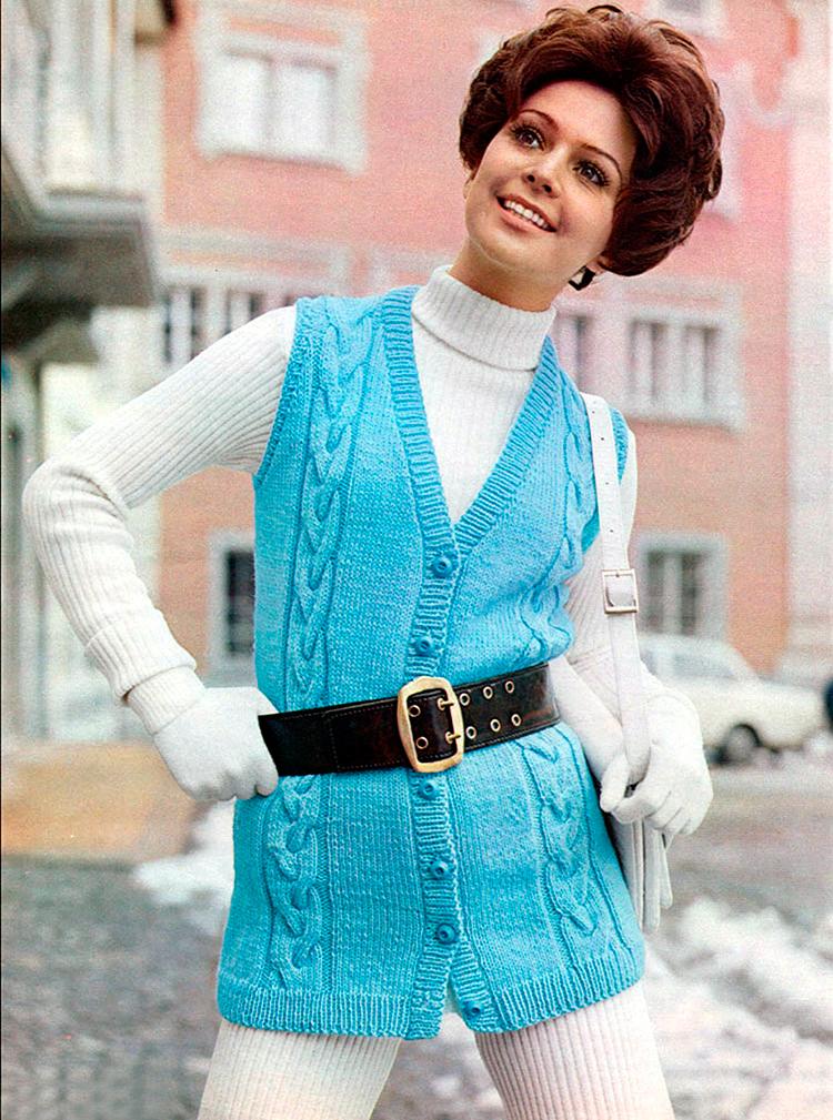 Винтажные вязаные вещи – свитера и жилеты в фотографиях