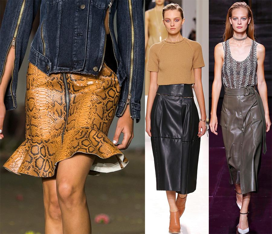 Кожаные юбки весна-лето