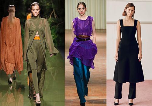 Как носить платье с брюками – 20 образов