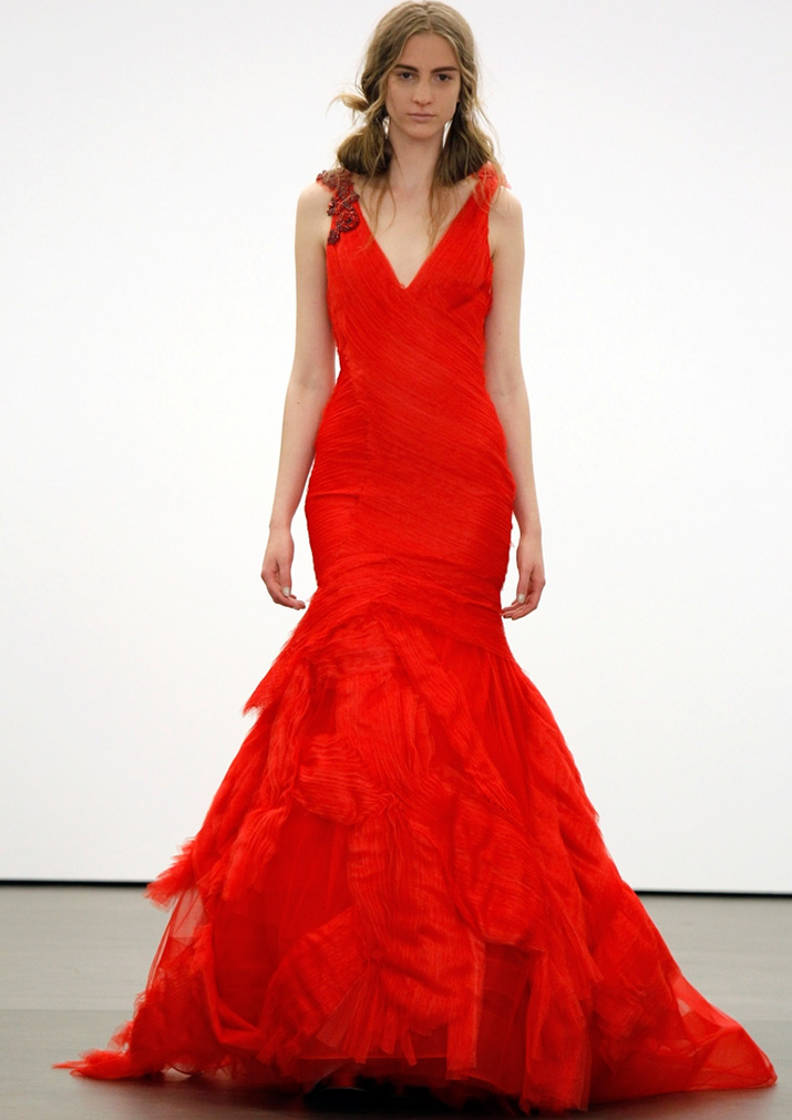 Красное свадебное платье Вера Вонг