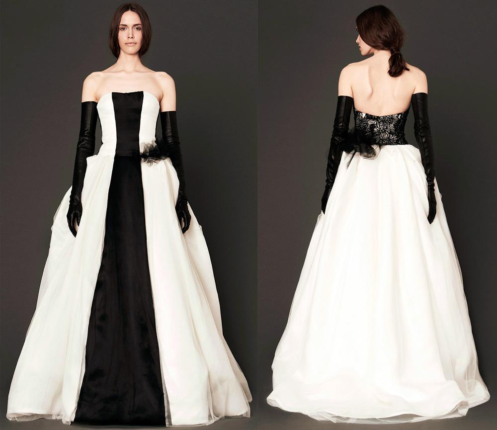 Черно-белое свадебное платье Вера Вонг