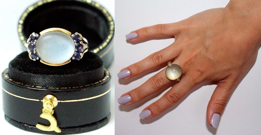 Кольца с лунным камнем