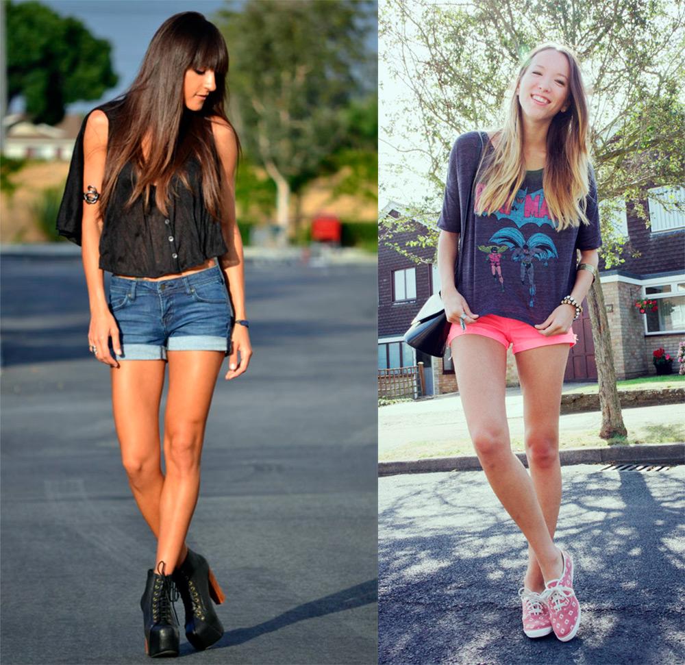 Девушка в очень коротких шортиках