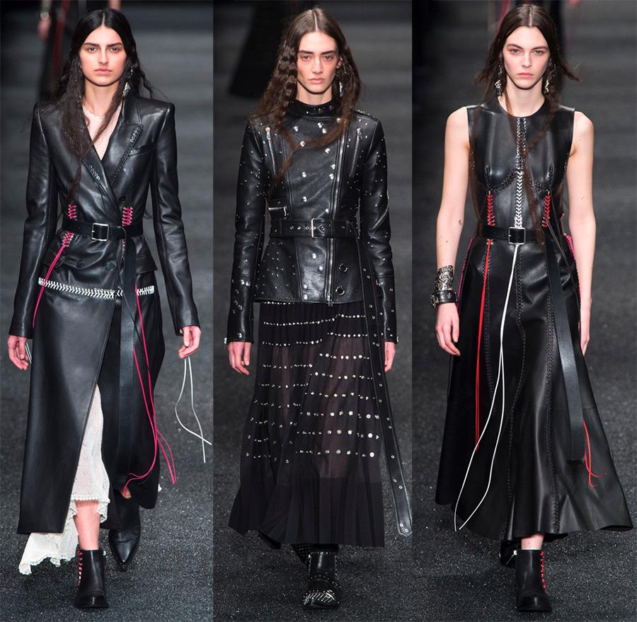 Черные кожаные платья, юбки, плащи и жакеты