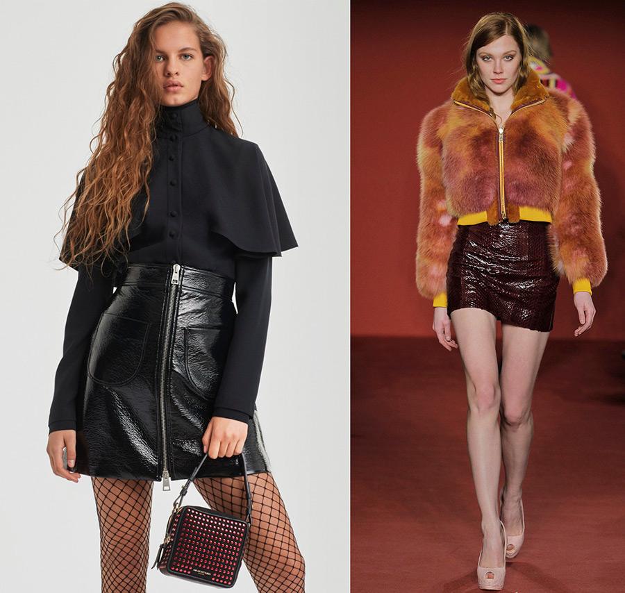 Модные кожаные юбки 2017-2018