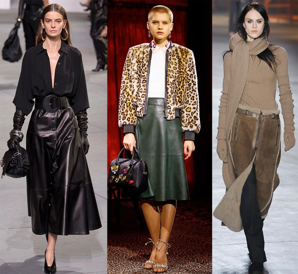 Длинные кожаные юбки