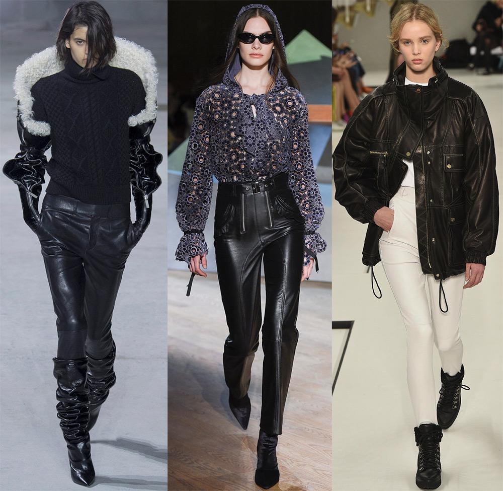 Женские кожаные брюки 2017-2018