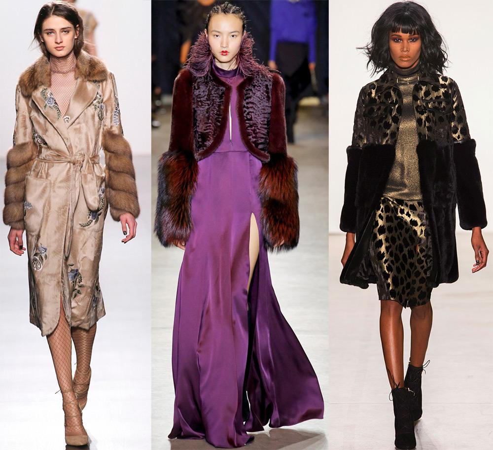 Платье и пальто с меховыми рукавами