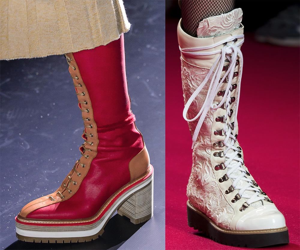 Зимние женские сапоги со шнуровкой