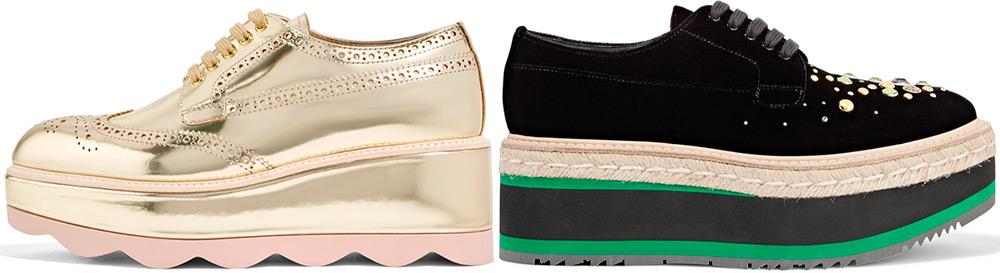 Женские туфли Prada на флатформе