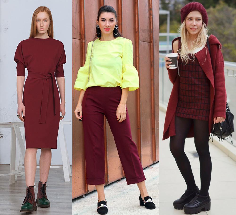 Цвет марсала в одежде – с чем сочетать