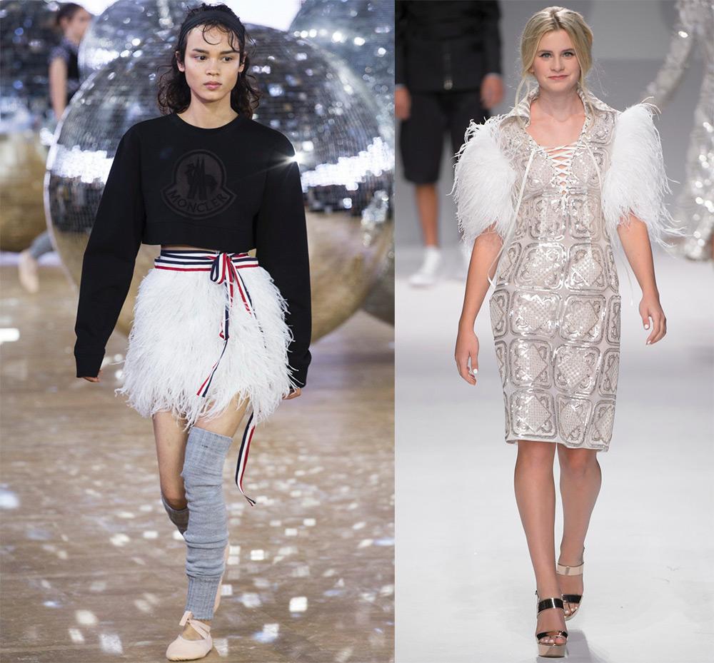Модные платья с перьями