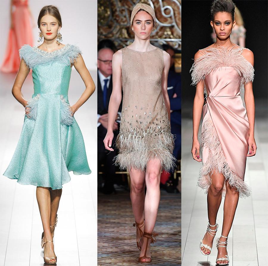 Модные платья с перьями новые фото