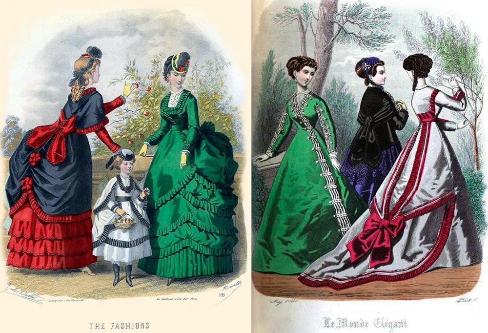 Модные платья 1869 года