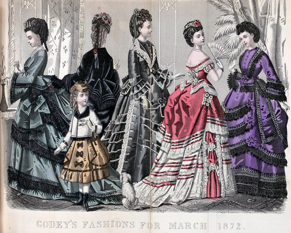 Платья 1870 годов - турнюрная мода