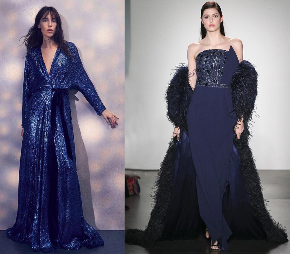 Синие вечерние платья 2018