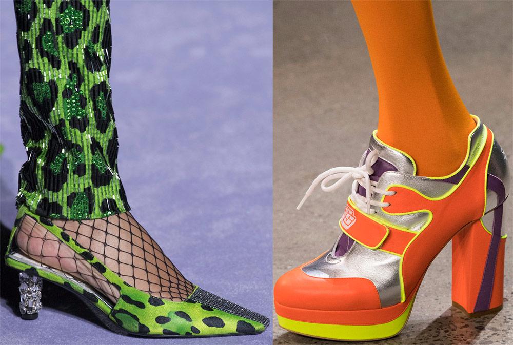 Zapatos de mujer de colores brillantes.