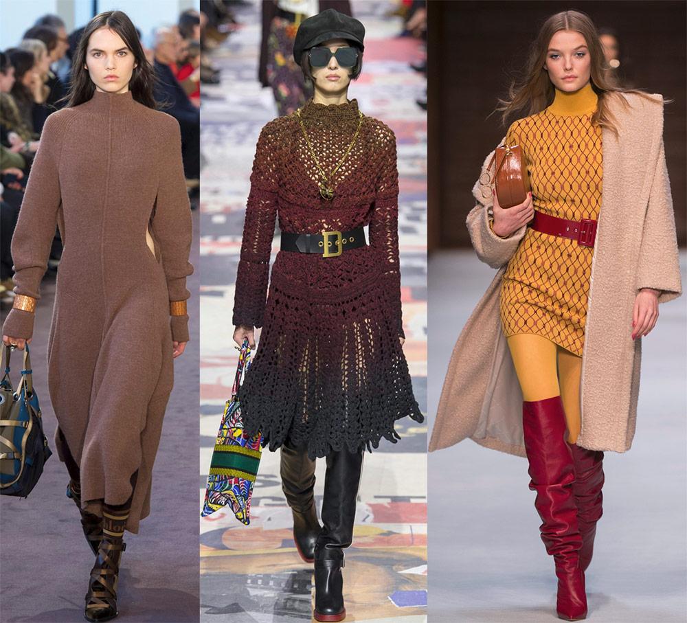 Модные вязаные платья 2018-2019