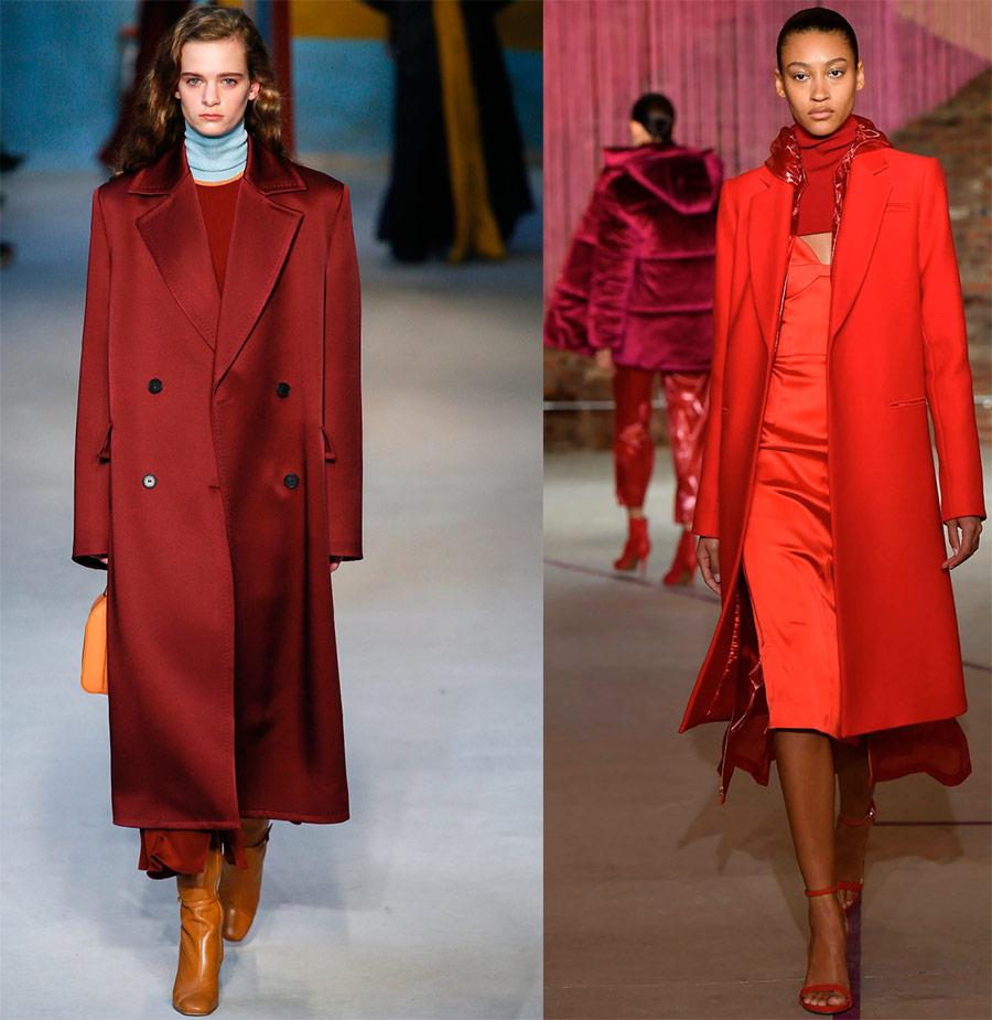 Красное пальто на зиму 2018-2019