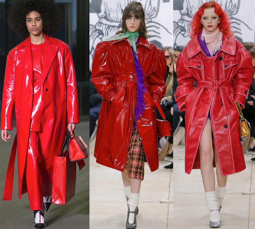 Кожаные красные пальто