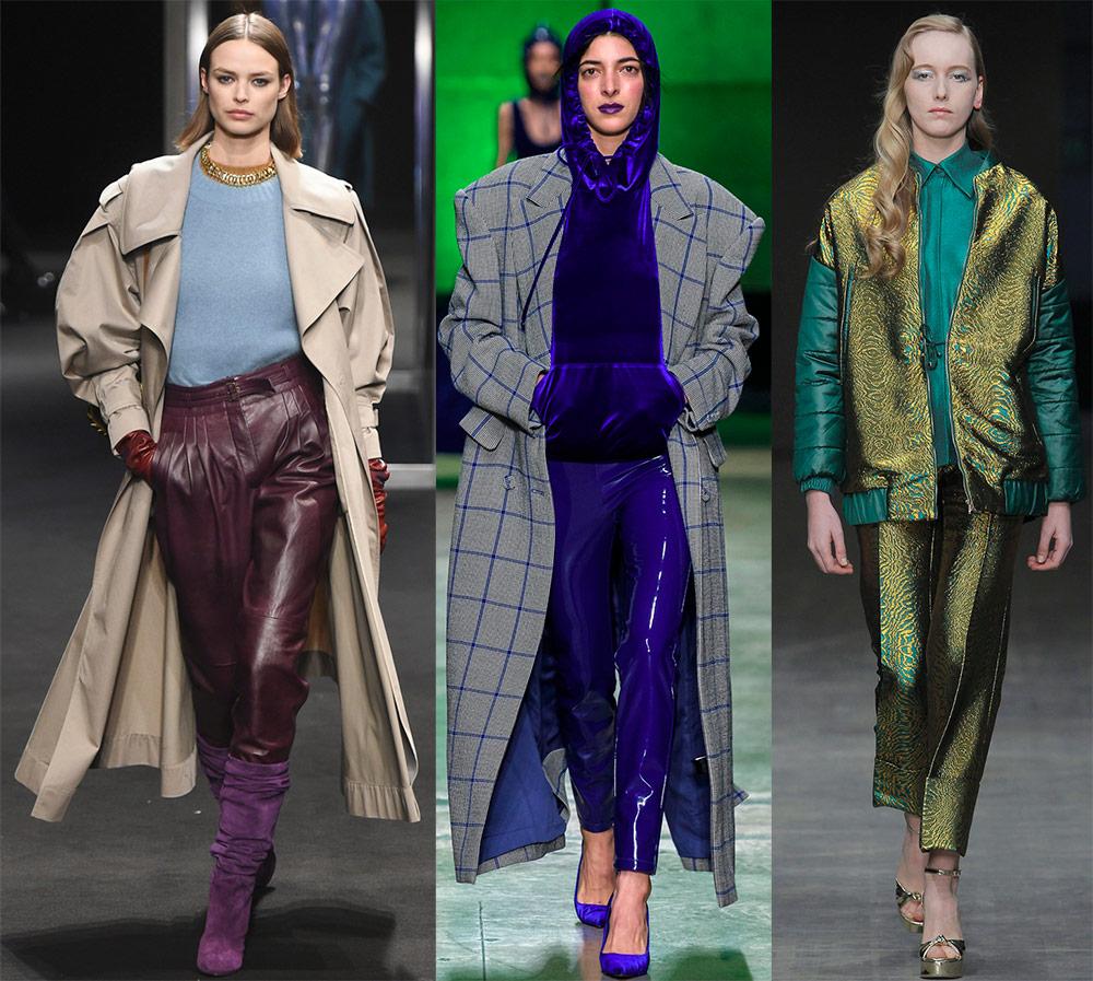 Блестящие брюки – 60 модных образов