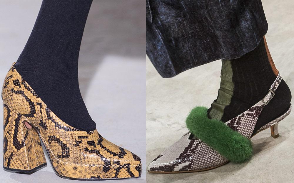Женские туфли из кожи питона