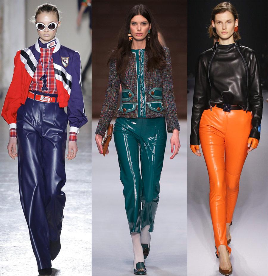 Блестящие кожаные брюки
