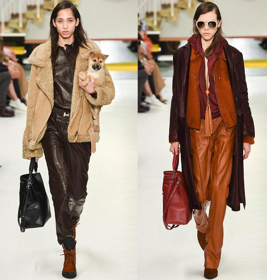Женские кожаные брюки Tods