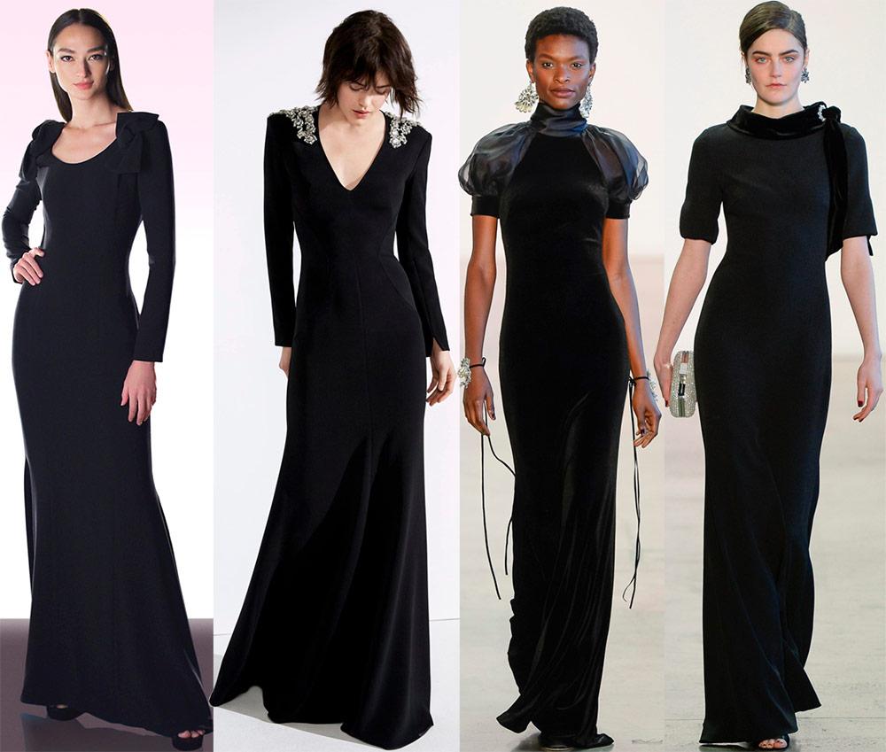 Fasjonabel svart kjole til gulvet