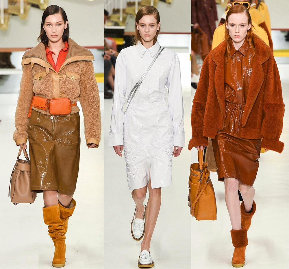кожаные юбки Tods