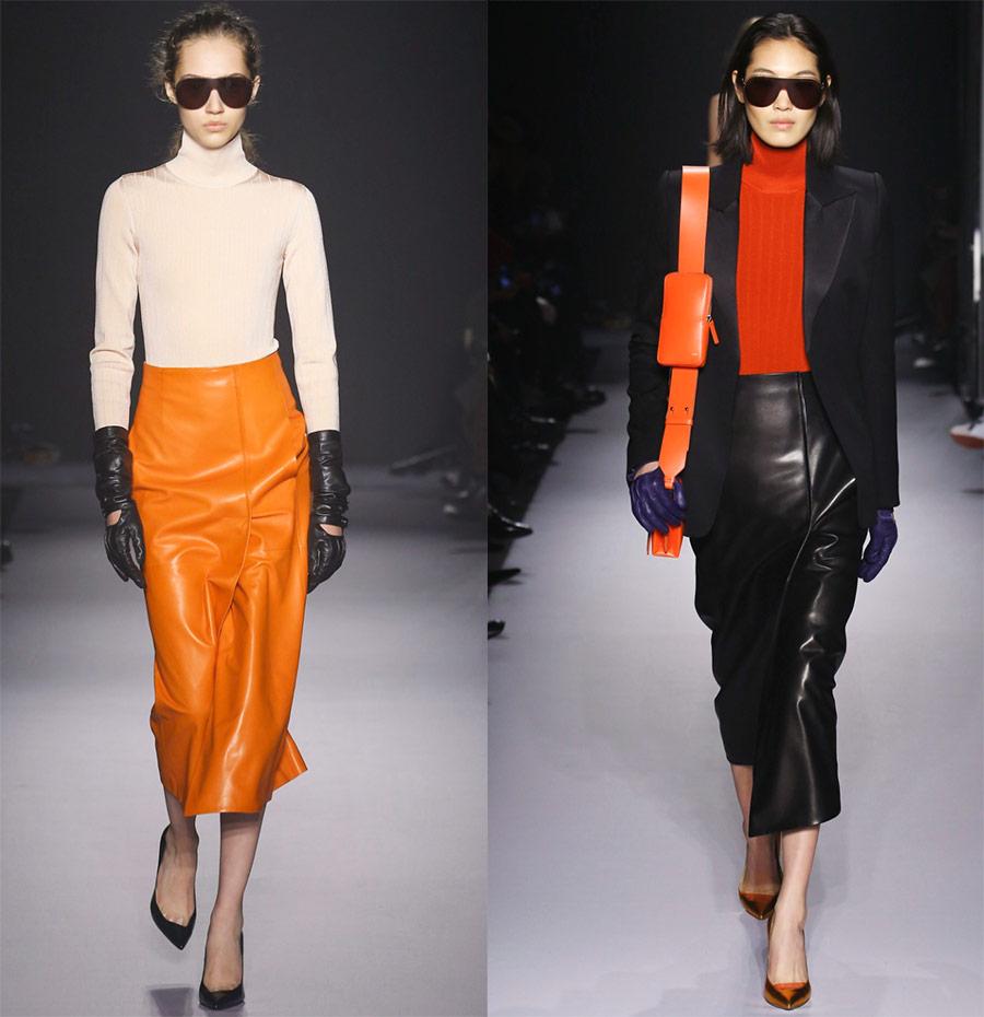 Læder nederdele - fashionable modeller efterår vinter