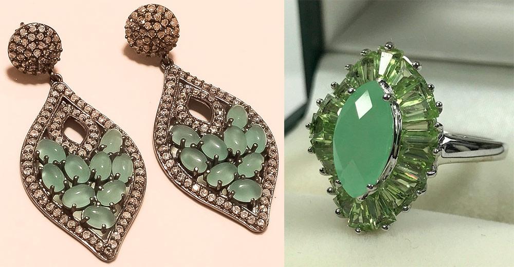 Серьги и кольцо с зеленоватым камнем