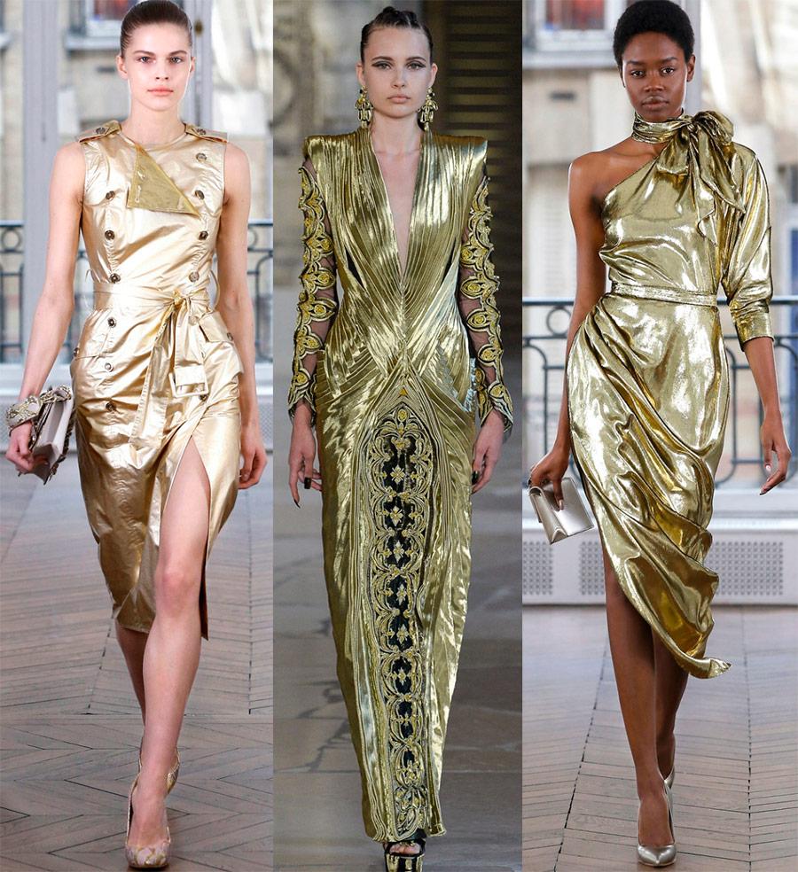 Золотые новогодние платья