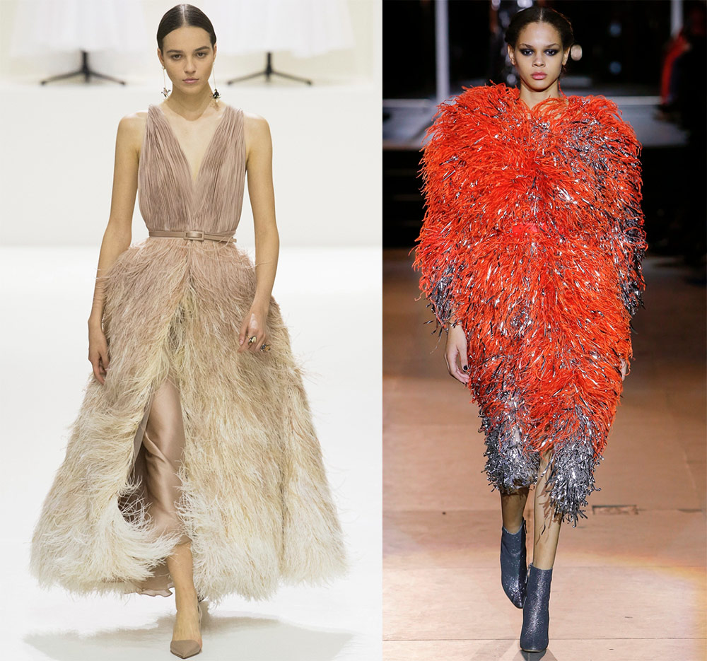 Fluffy dresses with feathers