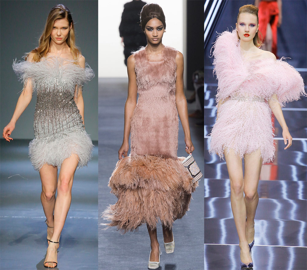 Festive dresses with feathers