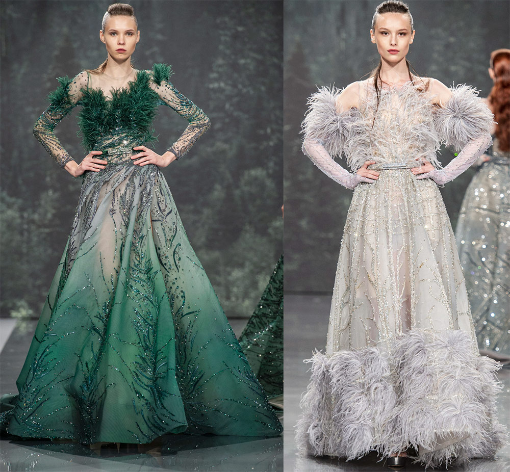 Beautiful dresses with feathers