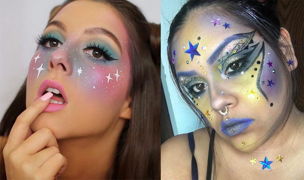Звездный космический макияж для праздничных образов