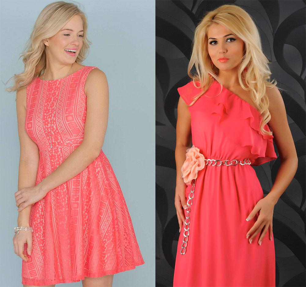 Блондинки в коралловых платьях