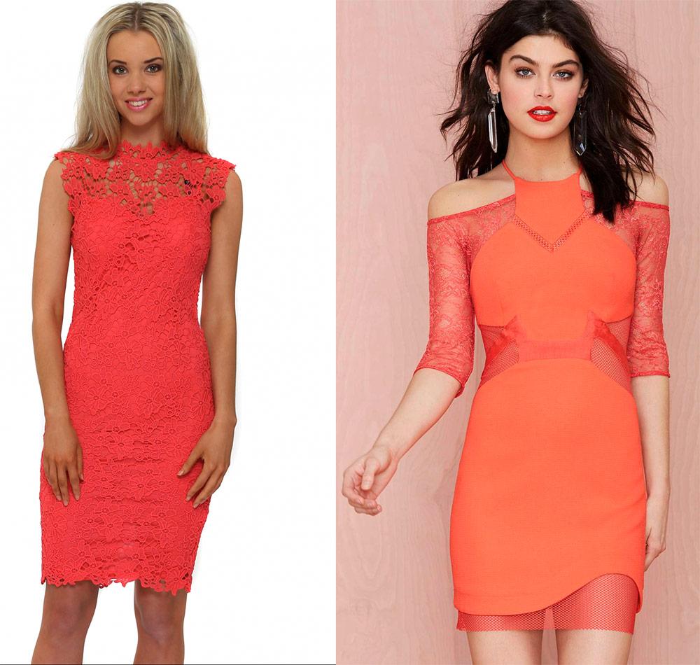 Модные коралловые платья