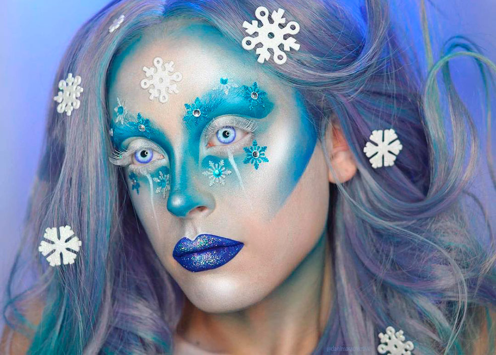 Фантазийный Новогодний макияж в стиле Ледяная королева