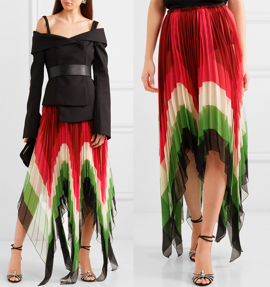 Ассиметричные плиссированные юбки – сразу 2 тенденции