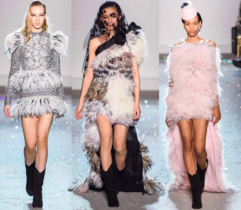Красивые платья с перьями Giambattista Valli
