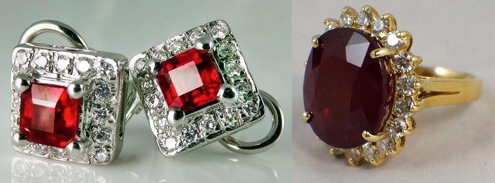 Серьги и кольцо с рубинами