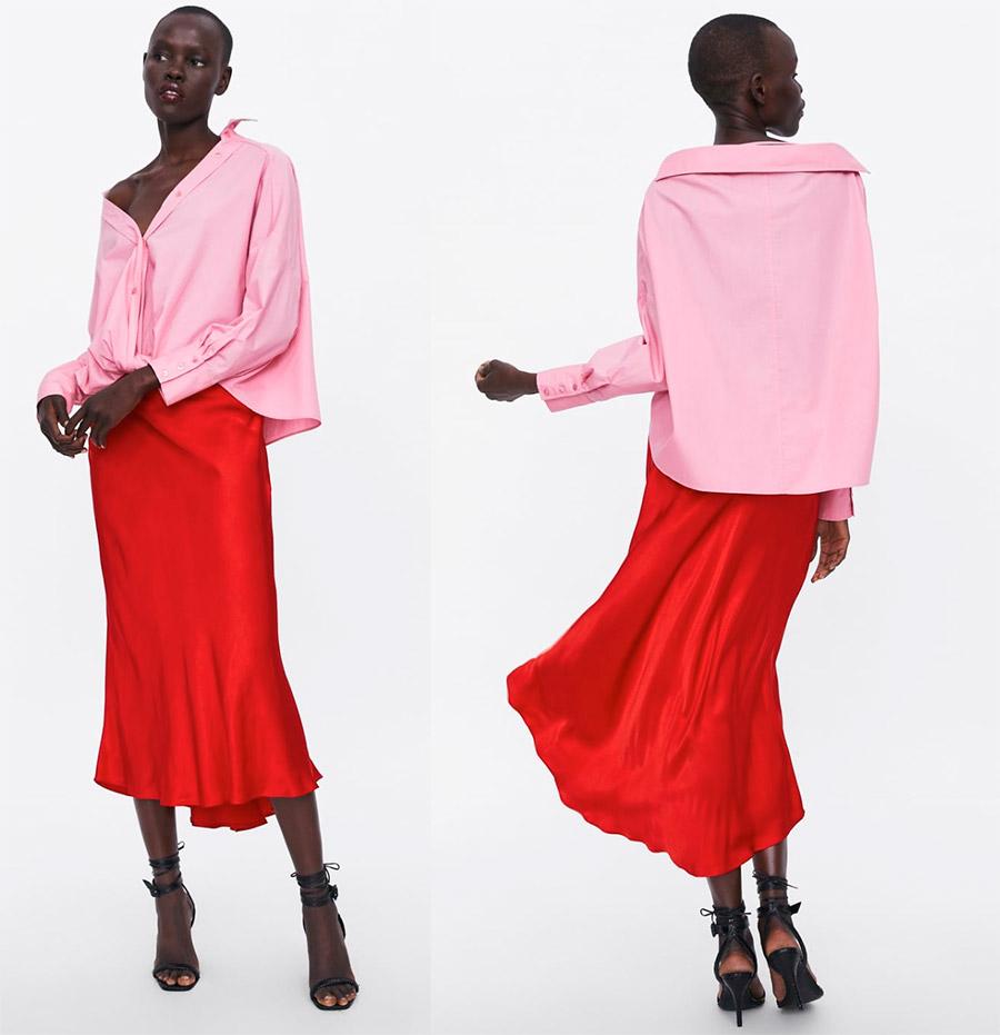Красная атласная юбка