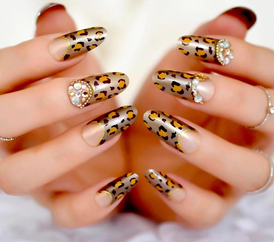 Леопардовый маникюр на короткие и длинные ногти