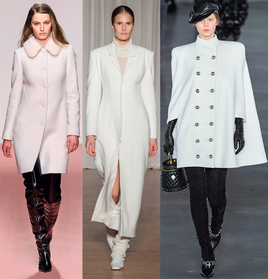 Модное белое пальто
