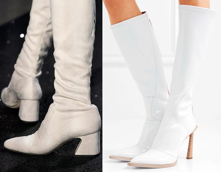 Модные белые сапоги